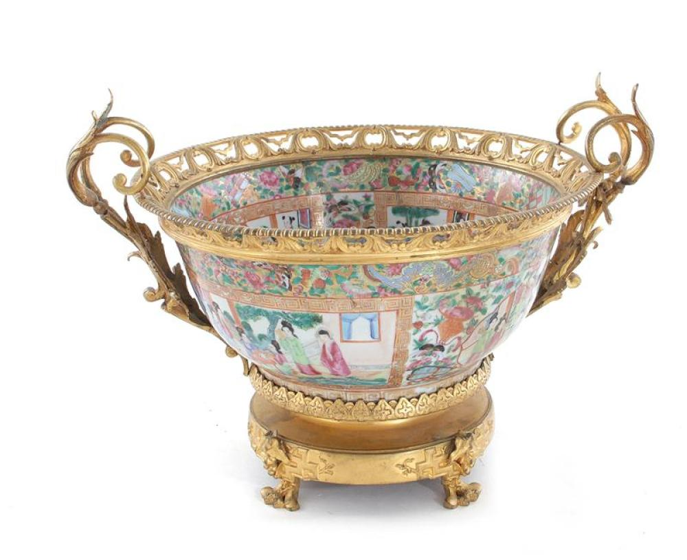Chinese Export bronze-dore mounted porcelain bowl, French market