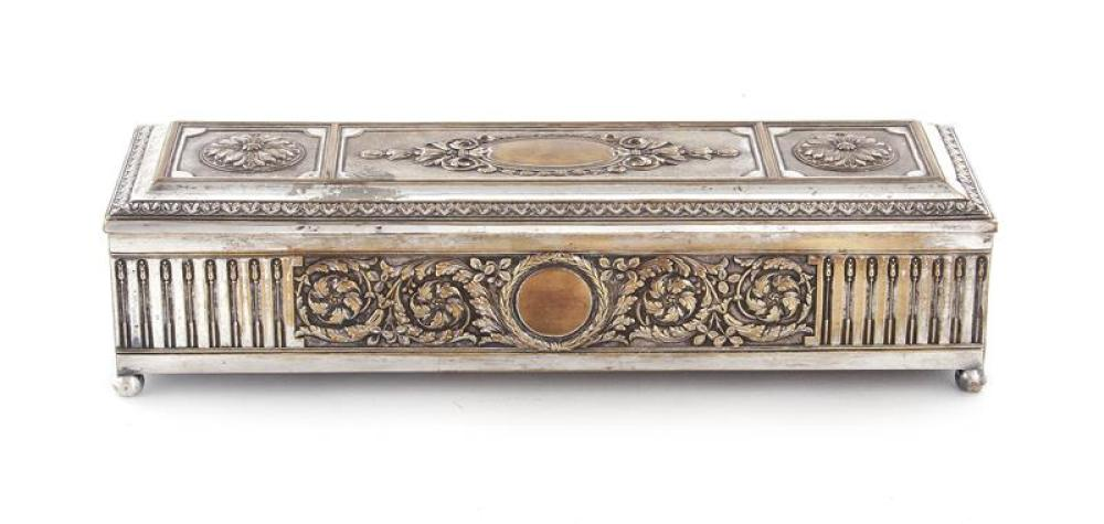 French silverplate trinket box