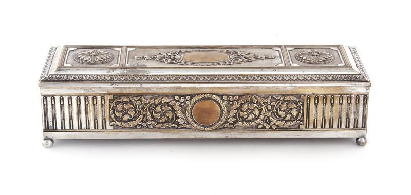 French silverplate trinket box