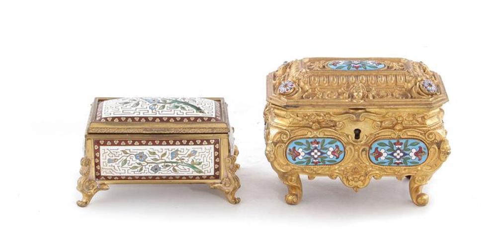 Antique champleve trinket boxes (2pcs)