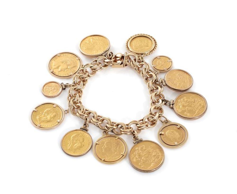 Gold coin charm bracelet