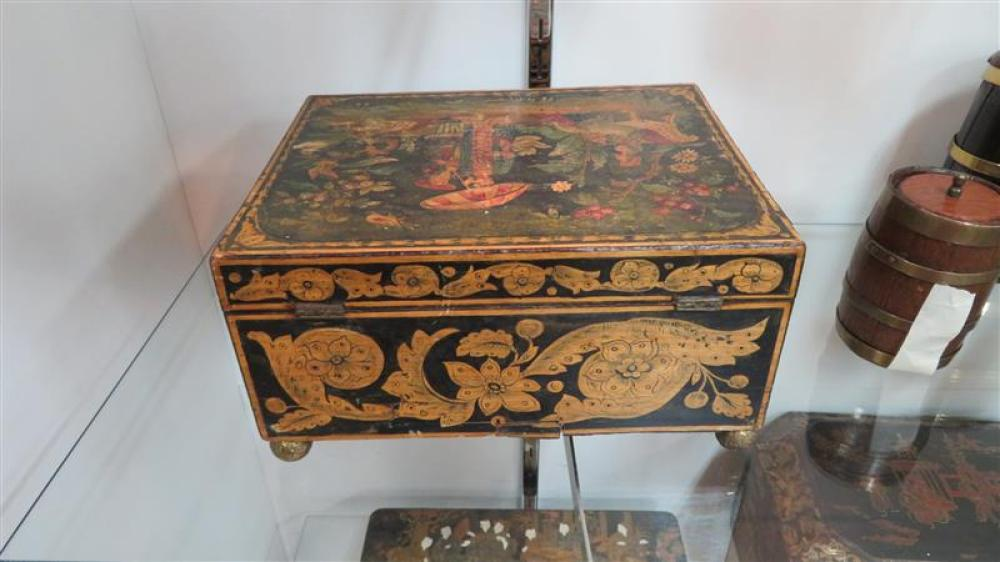 English penwork Chinoiserie decorated sewing box