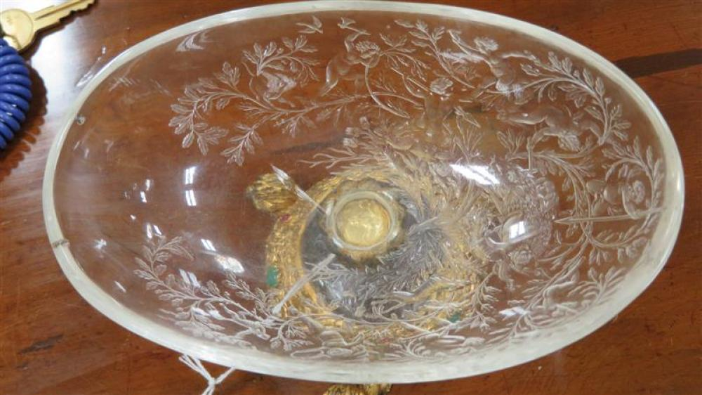 Viennese rock crystal and gem-set gilt-bronze footed dish