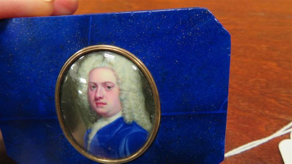 Fine French portrait miniature inset lapis lazuli box