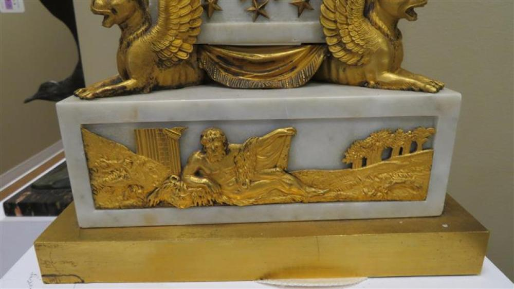 Impressive French neoclassical gilt-bronze and marble mantle clock