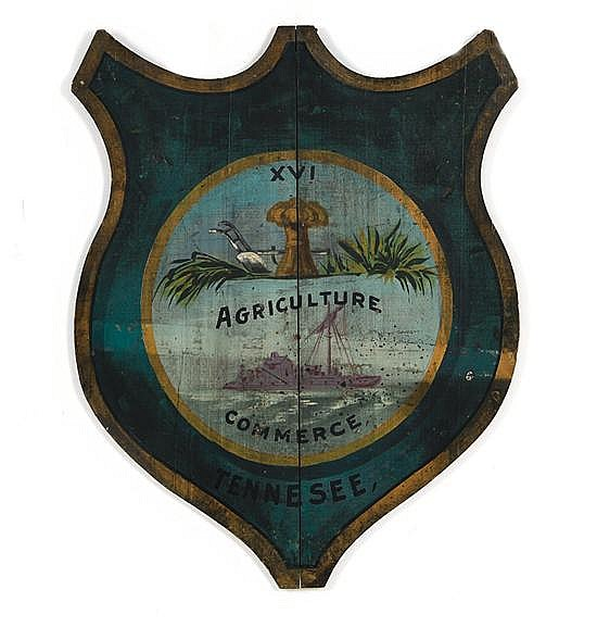 Rare painted folk art shield depicting the state seal of Tennessee