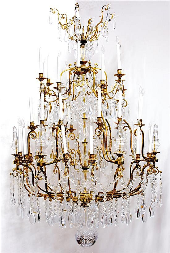 Large gilt-metal and crystal thirty-six light chandelier