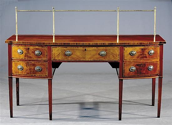 George III inlaid mahogany bow front sideboard