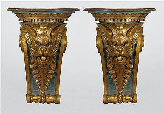 Pair Continental carved and painted wood brackets