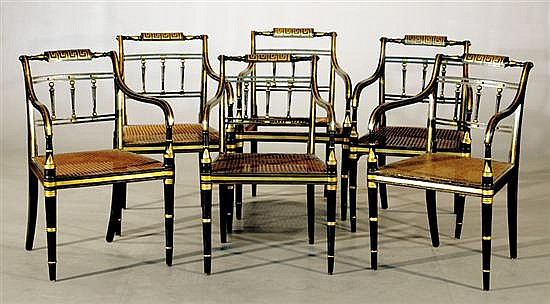 Regency style parcel-gilt black lacquer armchairs (6pcs)