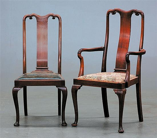 Queen Anne style walnut dining chairs, set of ten