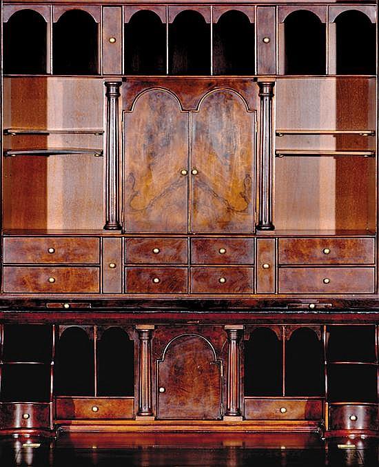 Georgian style walnut desk and bookcase