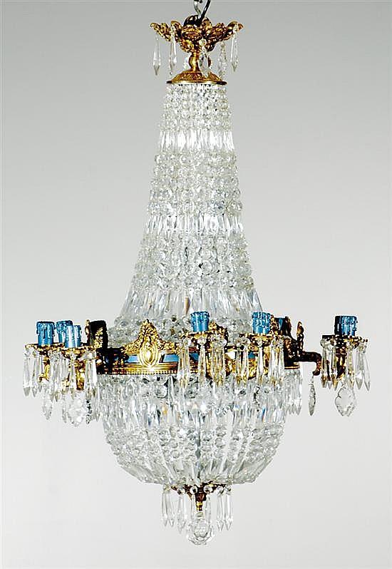 Regency style gilt-metal and crystal chandelier