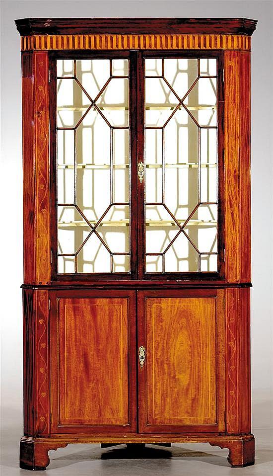 Georgian inlaid mahogany corner cupboard