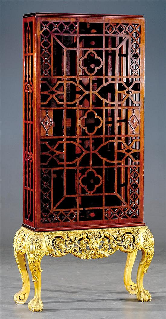 Chinese Chippendale style mahogany and giltwood display cabinet