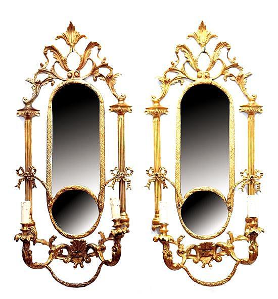 Pair Adam style mirrored sconces