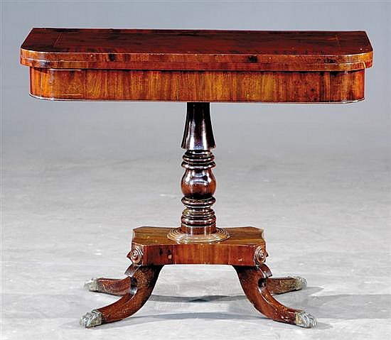 Regency style inlaid mahogany card table