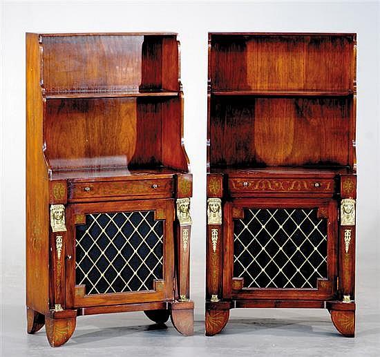 Pair Empire style mahogany waterfall bookcase cabinets
