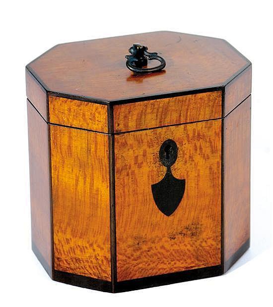 English style inlaid lacewood octagonal tea caddy