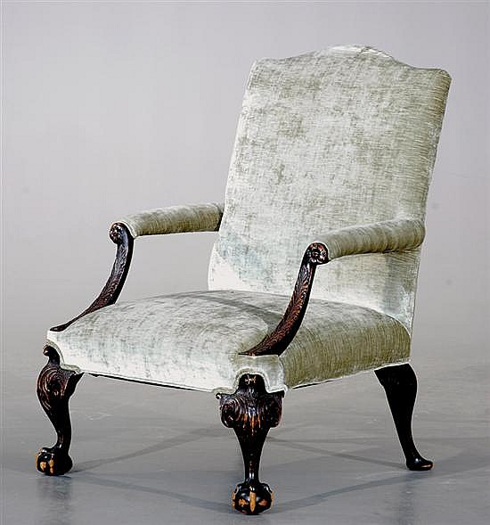 Chippendale style carved mahogany library chair