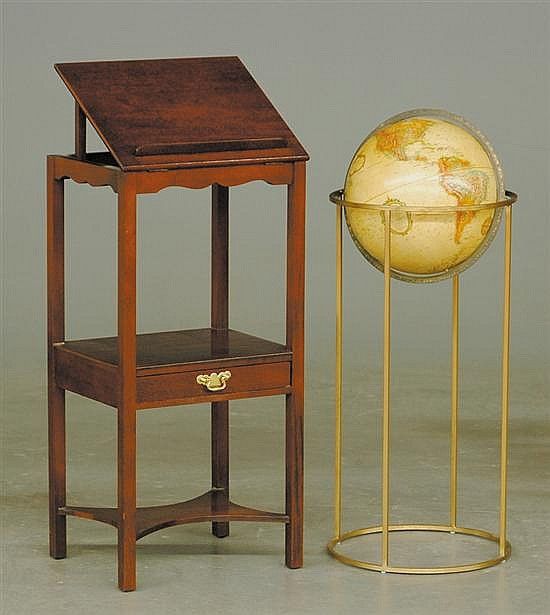 Replogle globe on stand with mahogany book table