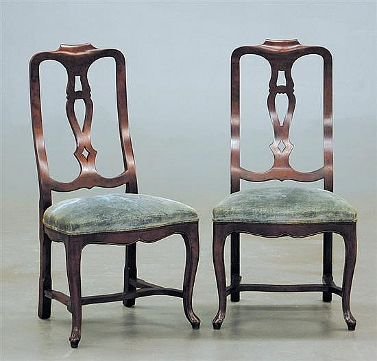 Pair Queen Anne style mahogany side chairs, Baker