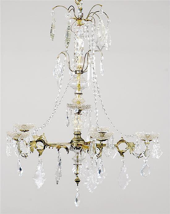 Bronze and crystal five-light chandelier