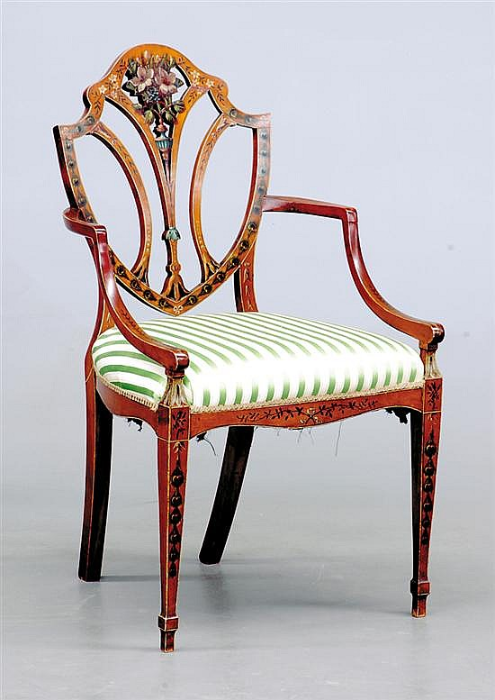 George III painted satinwood armchair