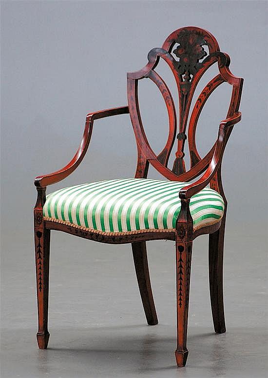 Painted English Hepplewhite shieldback armchair