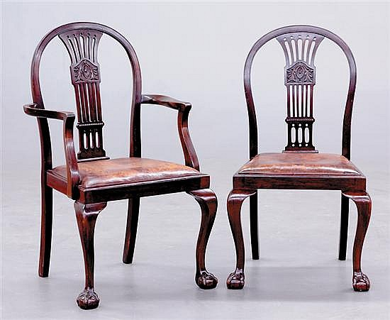 Chippendale style mahogany side chairs, set of eight