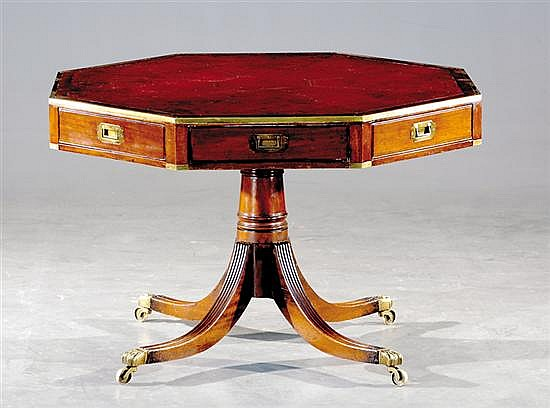 English Sheraton style mahogany octagonal rent table