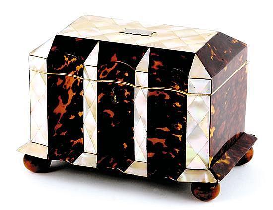 English tortoiseshell and mother-of-pearl tea caddy