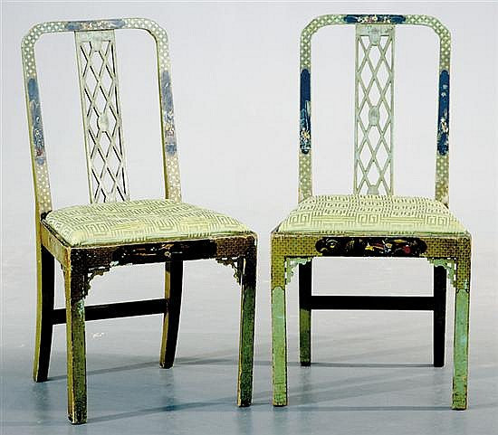 Pair Chinese Chippendale style chinoiserie side chairs