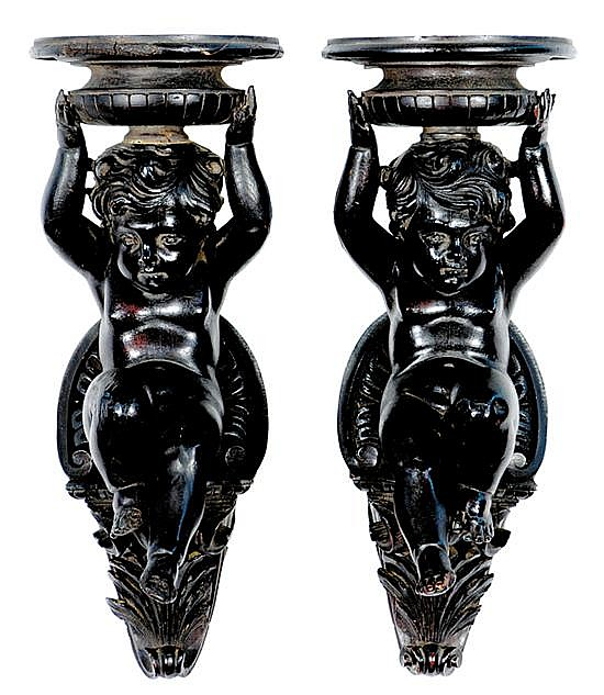 Pair carved wood wall brackets