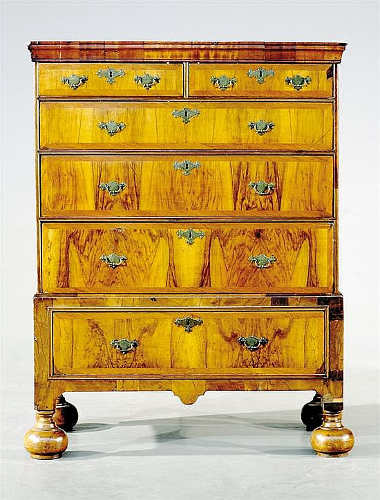 William & Mary style walnut chest-on-frame