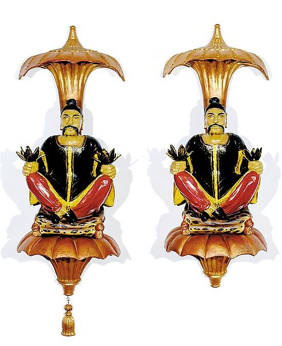 Pair chinoiserie figural candle sconces