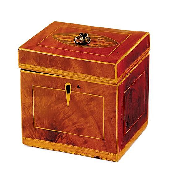English inlaid satinwood tea caddy