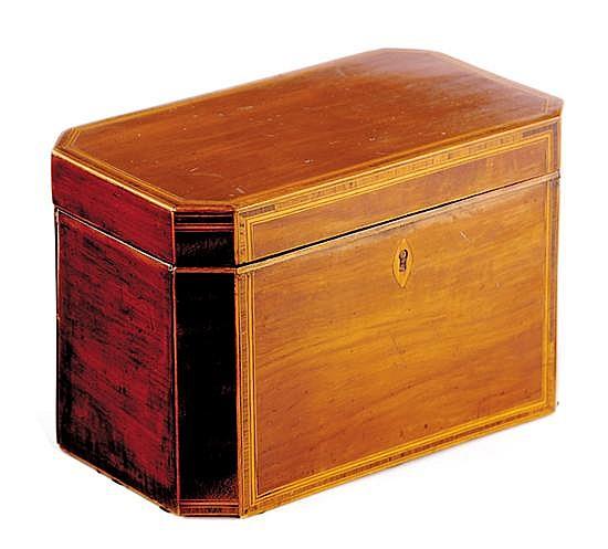 English inlaid mahogany tea caddy