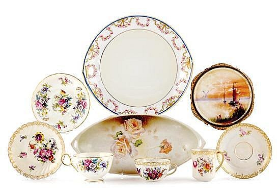 Collection porcelain dishes and cups with saucers (10pcs)