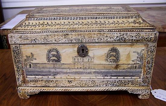 Anglo-Indian engraved ivory tea caddy