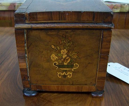 Victorian marquetry and mixed wood tea caddy