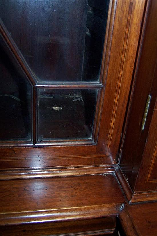 George III style inlaid mahogany breakfront bookcase