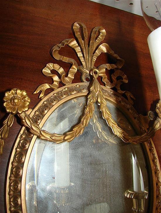 French bronze-dore three-light sconce set (4pcs)