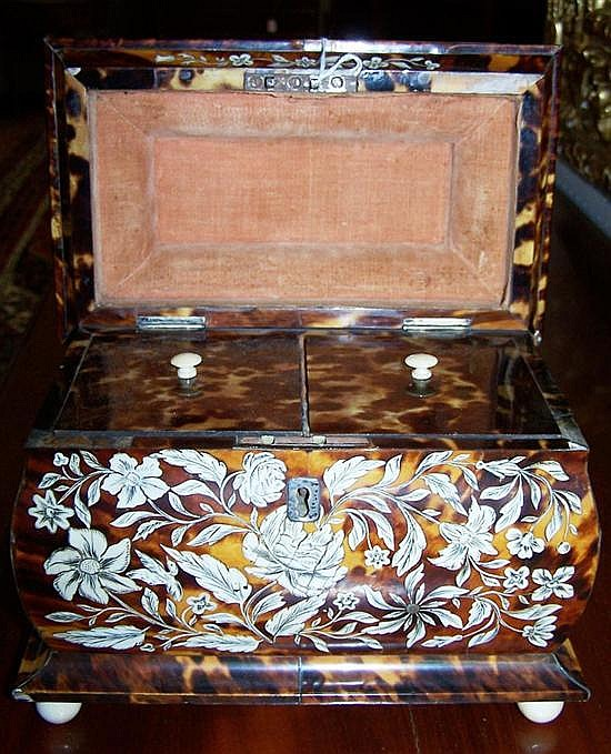 George III tortoiseshell and ivory tea caddy