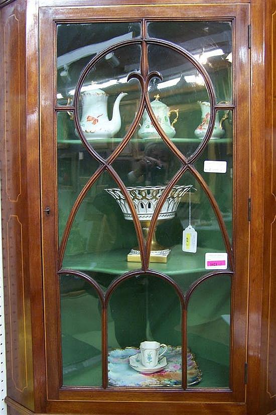 English Hepplewhite style inlaid mahogany corner cupboard