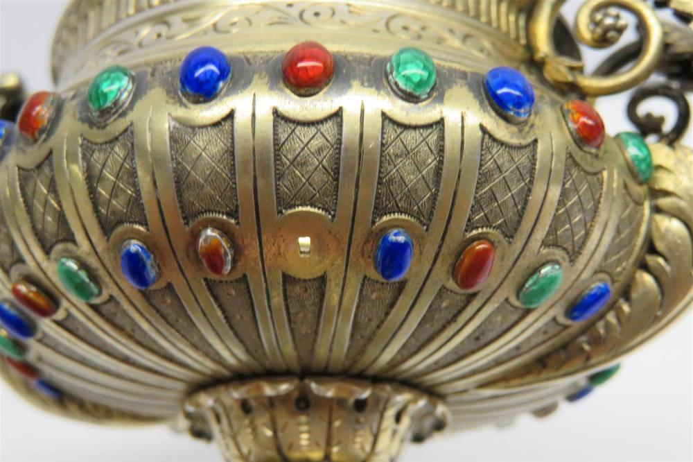 Continental enameled silver and jade urn