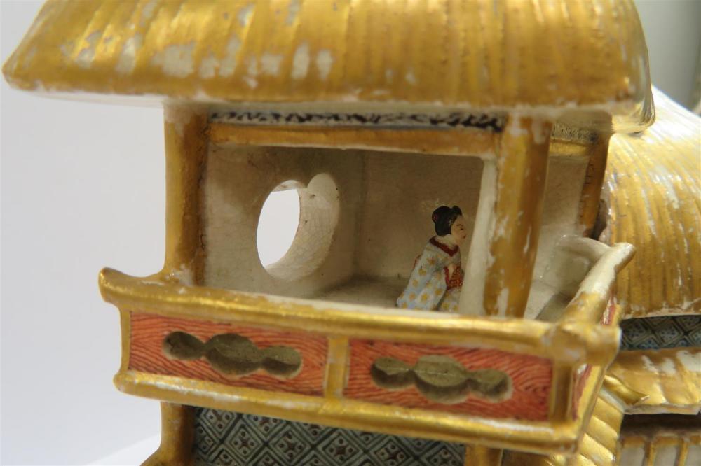 Japanese Satsuma architectural-form incense box