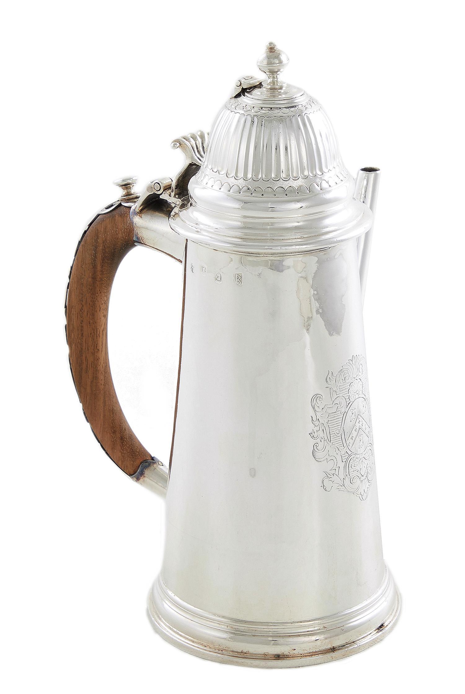 Queen Anne silver chocolate pot, Robert Cooper
