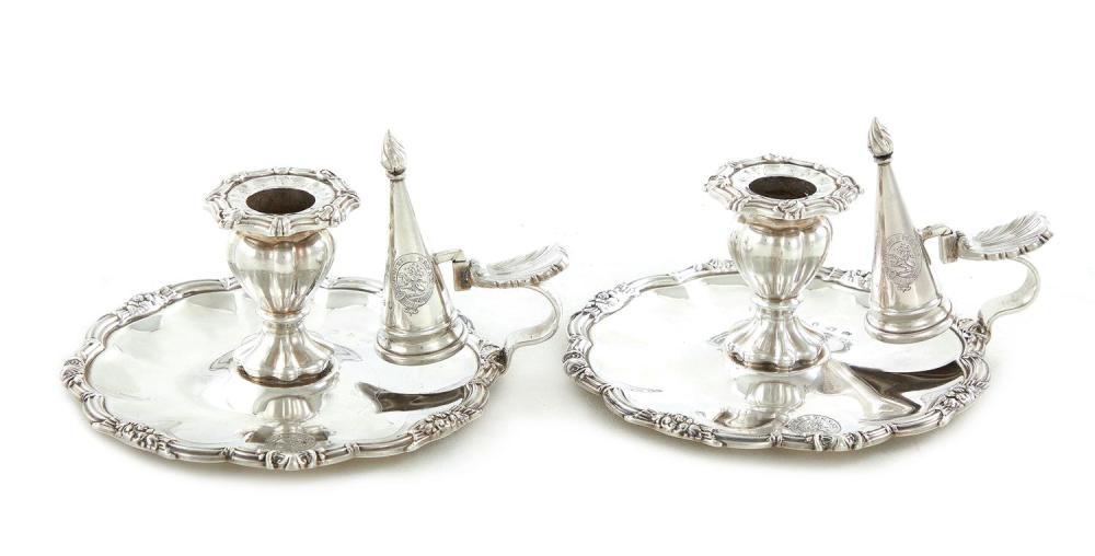 Pair English silver chambersticks with snuffer, Samuel Roberts & Co (2pcs)