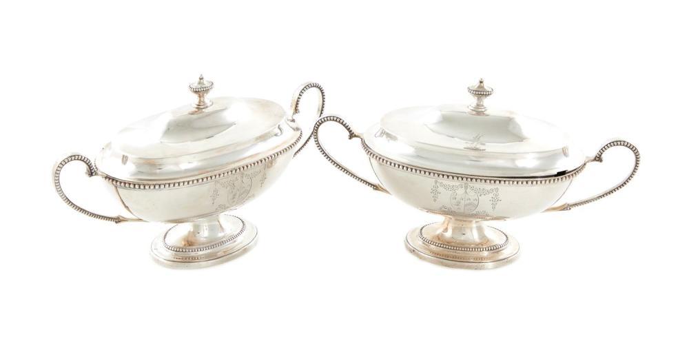 Rare pair George III silver sauce tureens, Hester Bateman (2pcs)